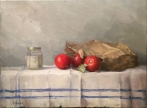 "Tomatoes and Jam Jar - Oil on Linen - 18"" x 24"" - $1800"