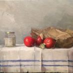 """Tomatoes and Jam Jar - Oil on Linen (Framed) - 18"""" x 24"""" - Sold"""