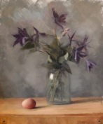 "Clematis with Egg - Oil on Linen - 20""x16"" - $1900"