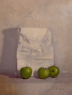 "Market Still Life with Green Apples - Oil on Linen Board - 28""x 22"" - $1800"