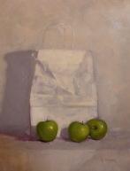 """Market Still Life with Green Apples - Oil on Linen Board (Framed) - 28""""x 22"""" - $1100"""