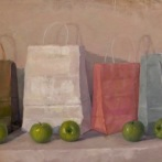 """Bags with Apples - Oil on linen - 46"""" x 24"""" - $1600"""