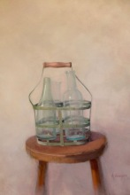 "Bottles - Oil on Linen - 34"" x 22"" - $2800"