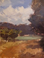 "Provencal Landscape - Oil on Linen Board (Framed) - 10""x 7"" - $650"