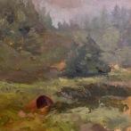 "Misty Day on Monhegan - Oil on Linen Board (Framed) - 12""x12"" - $650"