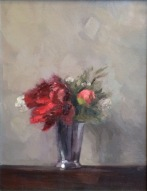 "Peonies in Silver Vase, Oil on Linen, 17"" x 13.5"""