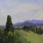 "Tuscan Vista, Oil on Linen Board (Framed) - 14"" x 11"" $650"