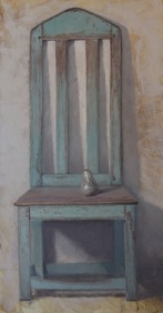 "Chair with Pear, Oil on Linen, 46"" x 24"""