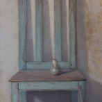 """Chair with Pear - Oil on Linen - 46"""" x 24"""" $1600"""