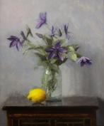 "Clematis with Lemon - Oil on Linen Board (Framed) - 24""x20"" - $1600"