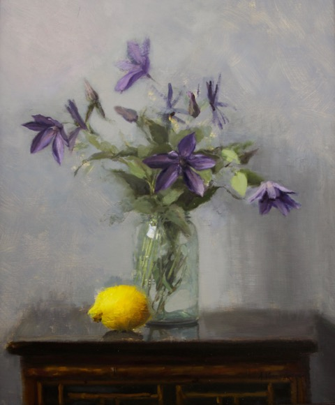 "Clematis with Lemon, 24"" x 20"", Oil on Linen Board"