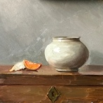 """Tangerine with Chinese Bowl - Oil on linen Board - 12""""x12"""" - $650"""