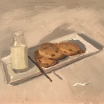 """Milk and Cookies - Oil on Linen board - 14x18"""" - $650"""