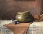 "Copper Pot with Blue and White Cup - Oil on Linen - 16""x20"" - $1600"