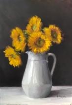 "Sunflowers - Oil on Linen - 18""x26"" - $1100"
