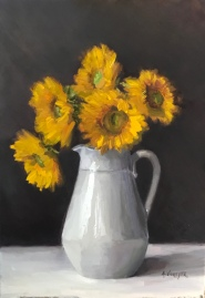 "Sunflowers - Oil on Linen - 18""x26"" - $1800"