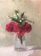 "Tiny Bouquet - Oil on Linen (Framed) - 9""x12"" - $800"