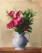 "Red Calla Lillies - Oil on Linen - 11""x14"" - $1300"