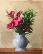 "Red Calla Lillies - Oil on Linen (Framed) - 11""x14"" - $850"