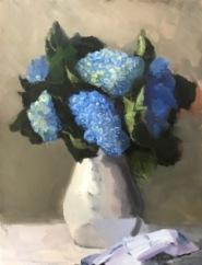 """Blue Hydrangeas - Oil on Linen - 20""""x 26""""- $1200"""