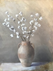 """Cotton in Urn - Oil on Linen- 30""""x 38"""" - $1600"""