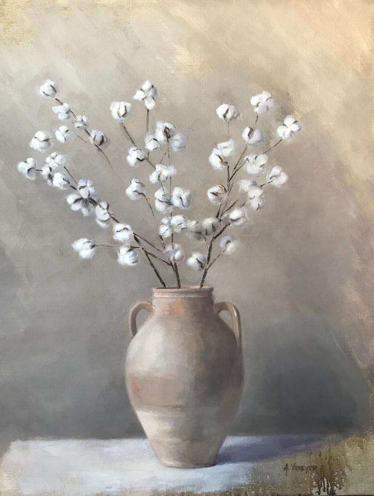 """Cotton in Urn - Oil on Linen- (Framed)- 30""""x 38"""" - $1600"""
