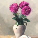 """Vessel with Flowers - Oil on Linen (Framed) - 16""""x 20"""" - $850"""
