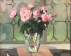"Pink Peonies - Oil on Linen Board - 18"" x 22"" - $900"