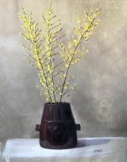 "Forsythia in Chinese Pot - Oil on Linen, 38x 30"", $1600"